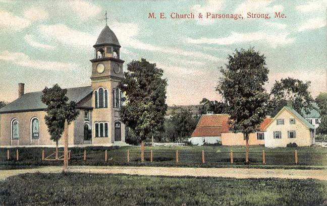 This old photo of the M.E. Church & Parsonage in Stron, Maine was taken by  Unknown photographer, Public domain, via Wikimedia Commons.