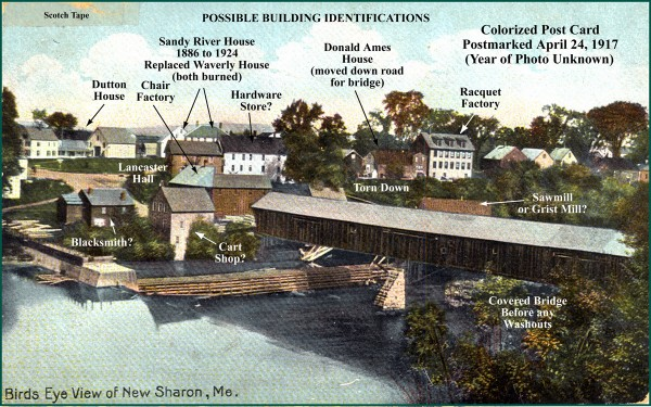 New Sharon Carpenter Ant Extermination postcard. This card, part of the New Sharon historical society collection scanned and being developed into a slide presentation, was postmarked April 24, 1917. The covered bridge was lost in a flood and an iron bridge erected in 1917. (Post card courtesy of Spencer Thompson)